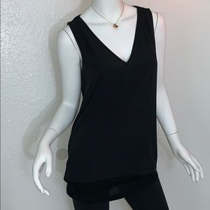 Banana Republic Black Open Back Chiffon Front Tank